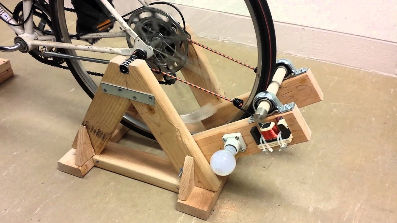 Bicycle Powered Light Bulb Generator Youtube