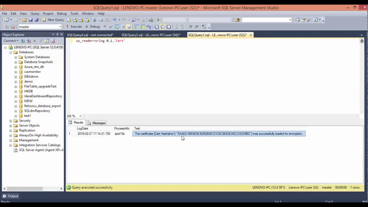 Encrypting connections to SQL Server - SSL