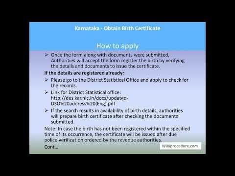 Karnataka - Apply For Birth Certificate
