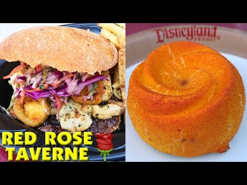 RED ROSE TAVERNE Disneyland - Lumiere Chicken Sandwich & Lemon Rose Cake REVIEW!