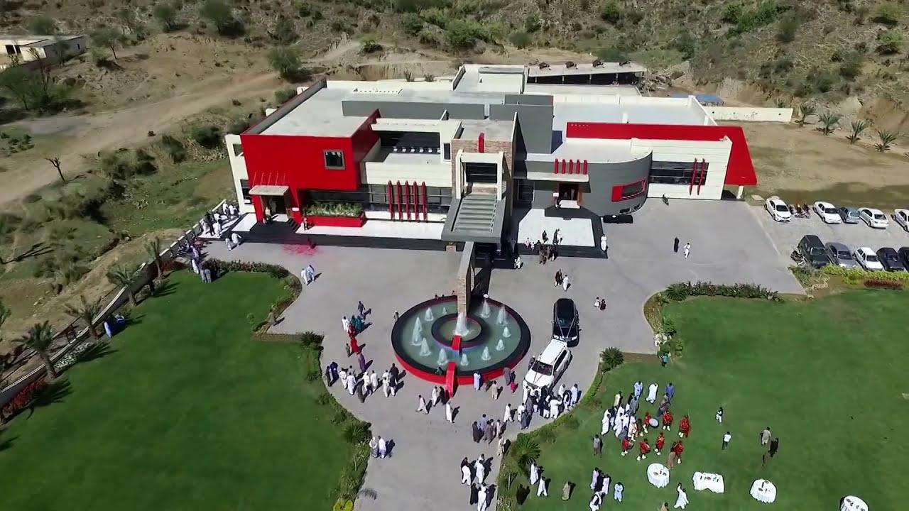 qasr e younis wedding hall drone view dadyal mohra kanyal