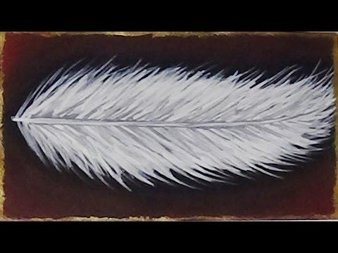 Mini Acrylic Painting - Feather