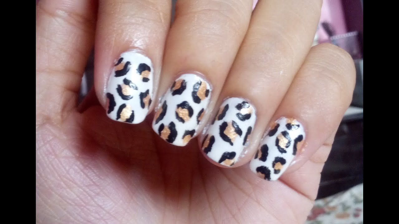GOLD LEOPARD PRINT NAIL ART TUTORIAL - YouTube