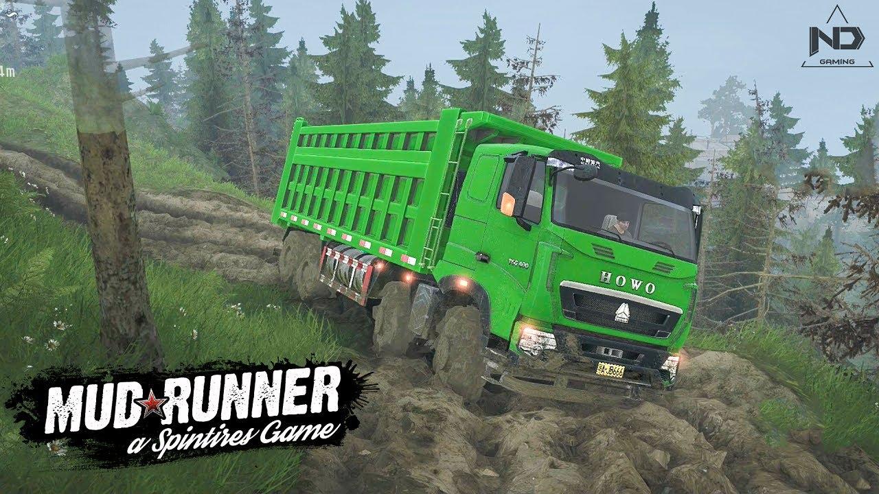 MudRunner – Thử Lái Xe Tải HOWO 4 Chân Leo Đường Núi Quanh Co