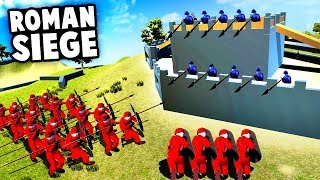 Epic ROMAN Castle SIEGE! Throwing SPEARS and