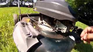 Gas Lawn mower throttle stop cable replacement fix cheap & easy fix
