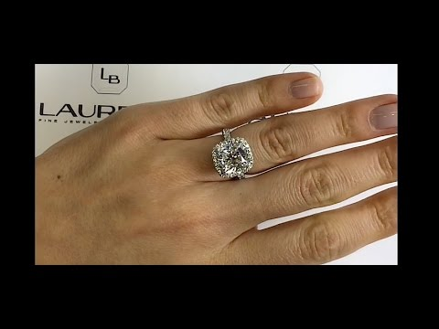 5 Carat Cushion Cut Diamond Halo Engagement Ring