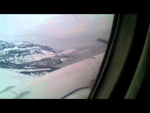 Landing at the Nuuk airport in Greenland