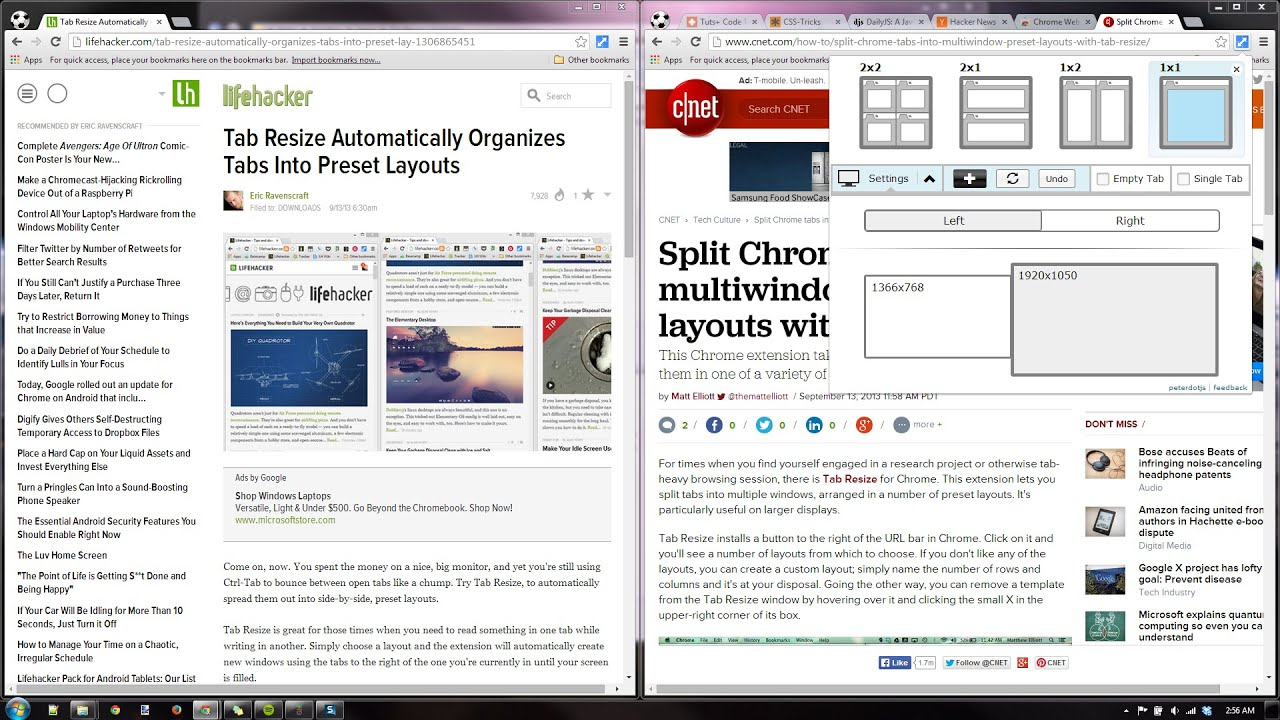 Tab Resize 2 0 [split screen layouts] - Chrome Extension Demo