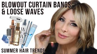 How To Blow Out Curtain Bangs & Create Loose Waves | Dominique Sachse