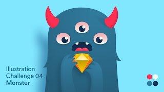 Illustration Challenge 04 - Monster | Sketch App