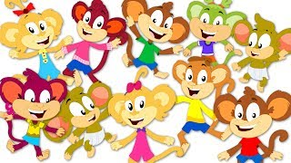 Ten Little Monkeys Jumping On The Bed | Monkey Nursery Rhymes | Kids Songs For Children