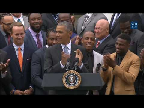 Barack Obama hosts Broncos at White House