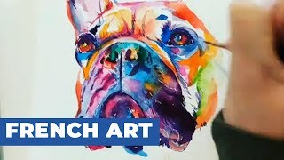Artist Paints Vibrant Watercolor Portrait of French Bulldog
