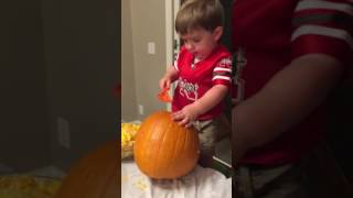Carving pumpkins (pumpkin guts) 10/29/16