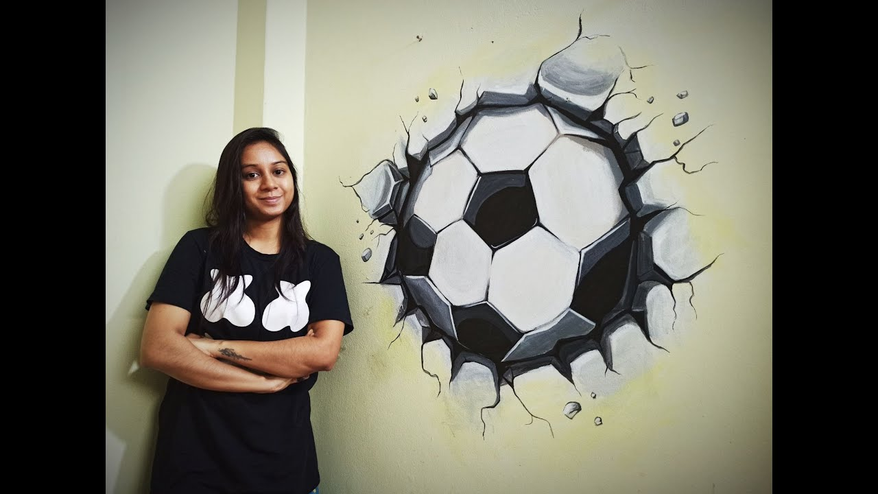 3d Football Wall Painting Youtube