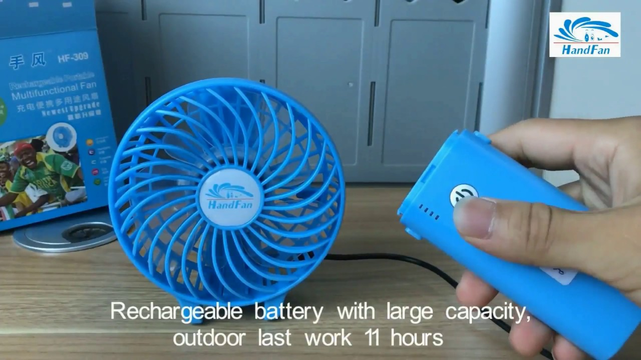 Portable USB Mini Fan Chargeable Outdoor Office Handheld Fan Color : Green