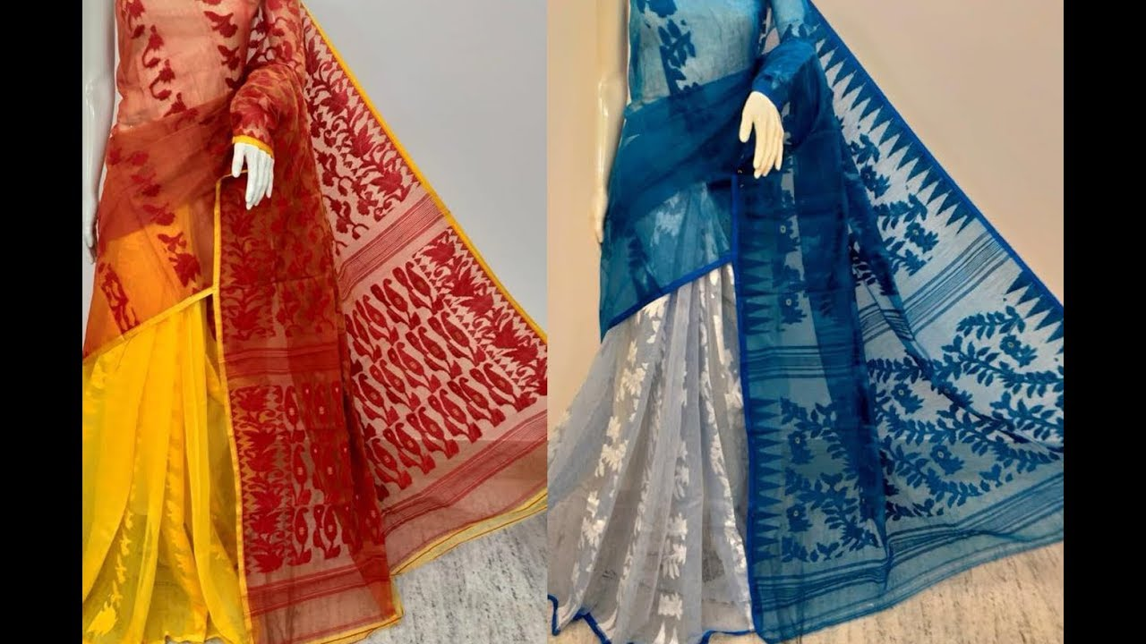 d35ff117a1 Hand Woven Bengal Pure Cotton Dhakai Jamdani Saree || Jamdani Pallu Cotton  Saree/Bengal Pure Cotton