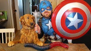 Earl Eats World's LARGEST Gummy Worm! Captain America Pretend Play Magic