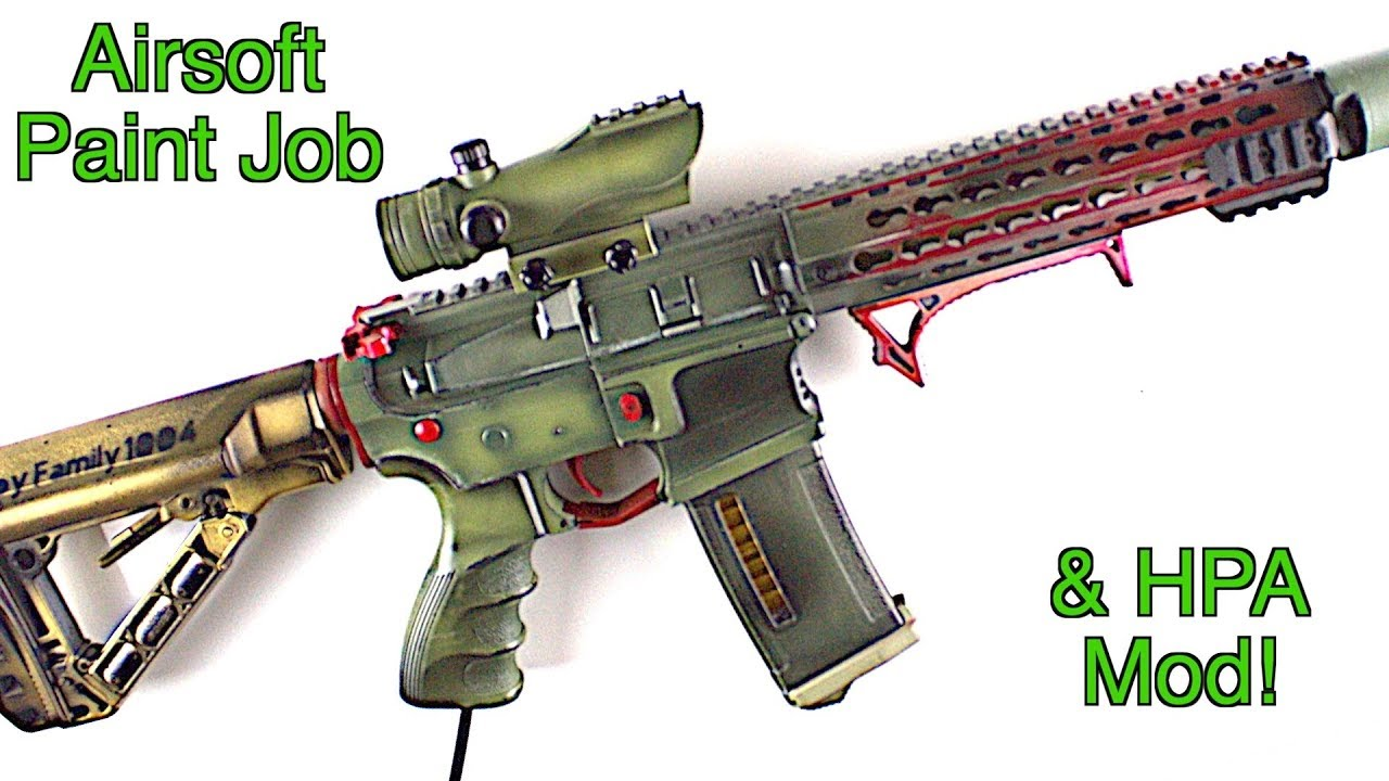 custom airsoft paint job and hpa mod cqb game play youtube