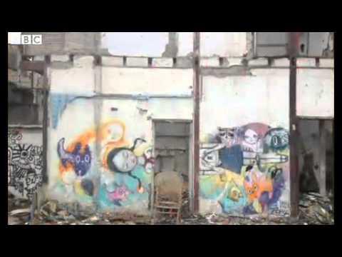BBC News   Graffiti art among the rubble in Shanghai, China