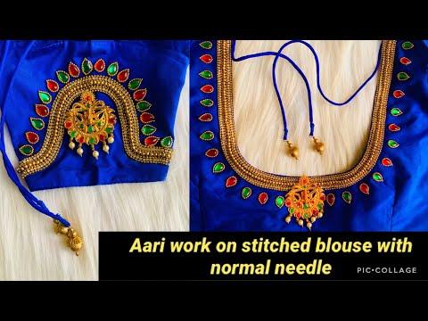 Grand U0026 Heavy Work Bridal Vangi Blouse Design On Stitched Blouse With Normal Stitching Needle