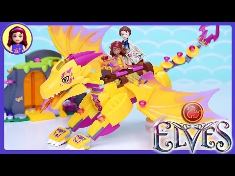 Lego Elves Fire Dragon's Lava Cave Set Build Review Play - Kids Toys