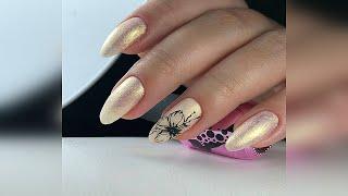 Красивый маникюр на миндалевидные ногти Дизайн ногтей Beautiful manicure for almond shaped nails