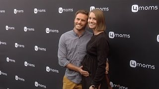 Michael Stagliano & Emily Tuchscherer 4moms Self-Installing Car Seat Launch Black Carpet