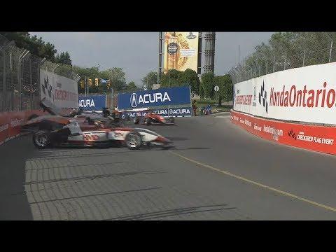 USF2000 Championship 2017. Race 2 Grand Prix of Toronto. Crash
