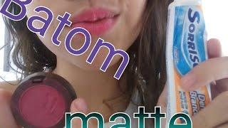 Como fazer batom matte caseiro/ com pasta de dente