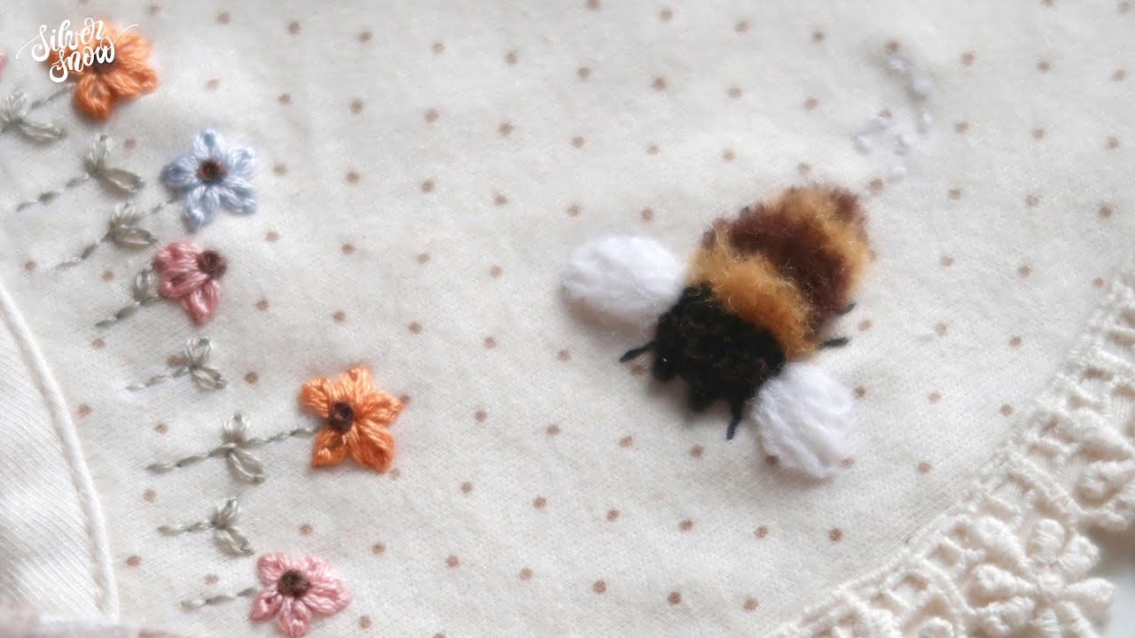[프랑스 자수 ENG CC] 오동통 꿀벌 자수 Bumblebees Embroidery