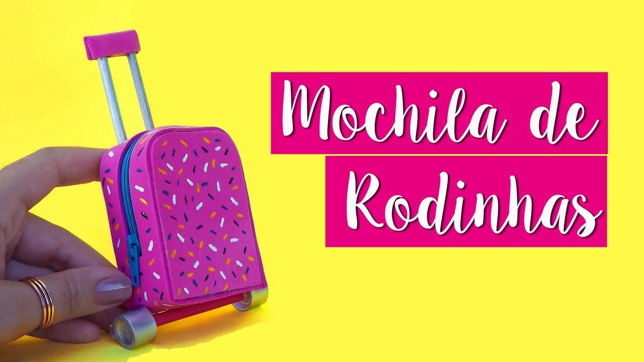 a988a5529 DIY – Como fazer Mochila de Rodinha para Boneca Barbie