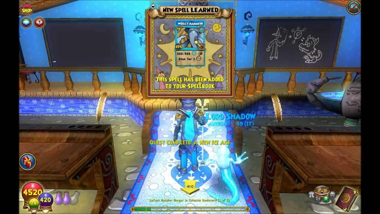 Wizard101 Woolly Mammoth Quest Level 68 Ice Spell Youtube