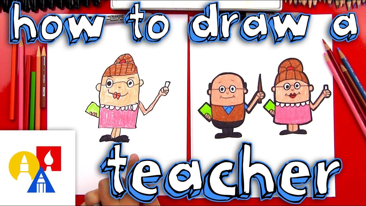 how to draw a cartoon teacher [ 1280 x 720 Pixel ]