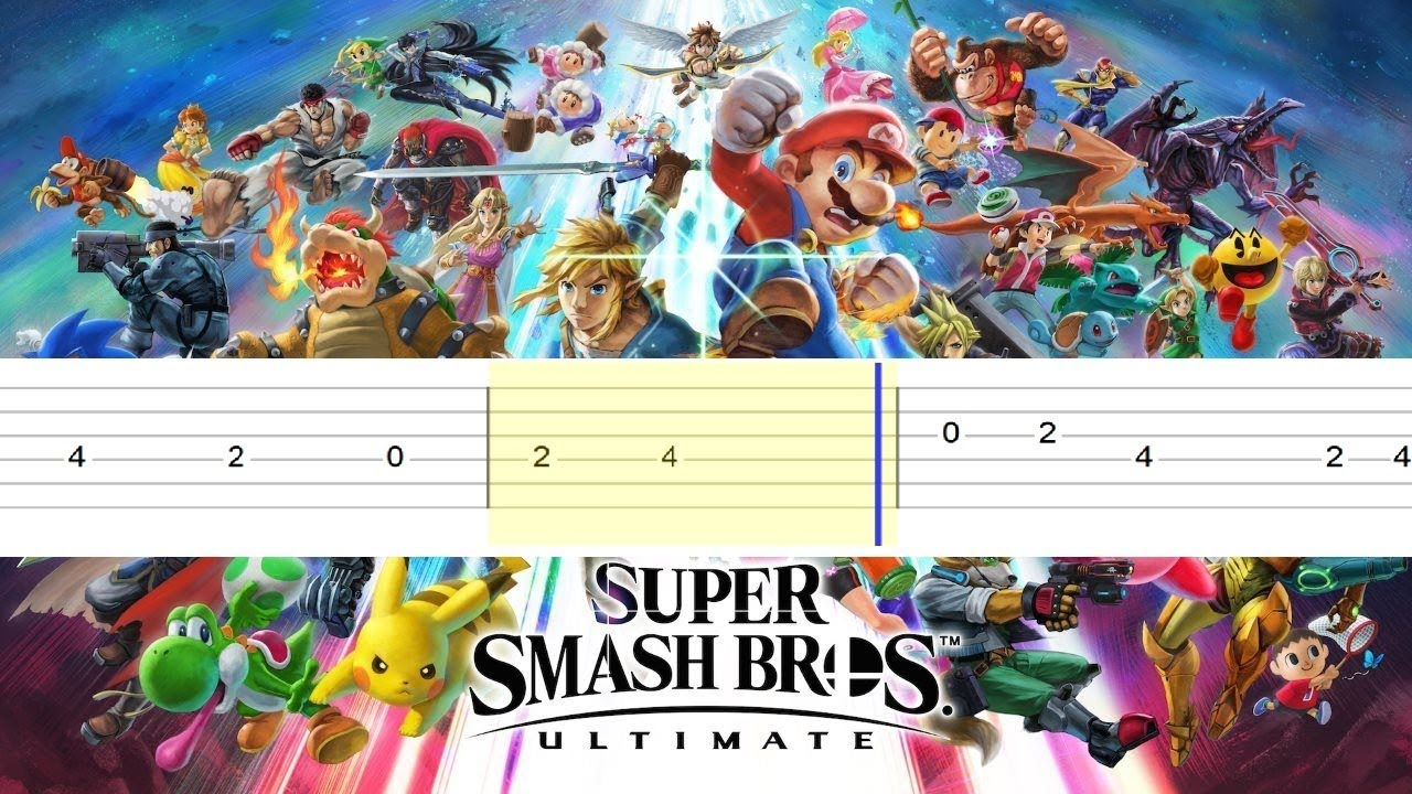 Super Smash Bros Ultimate - Main Theme (Easy Guitar Tabs Tutorial)