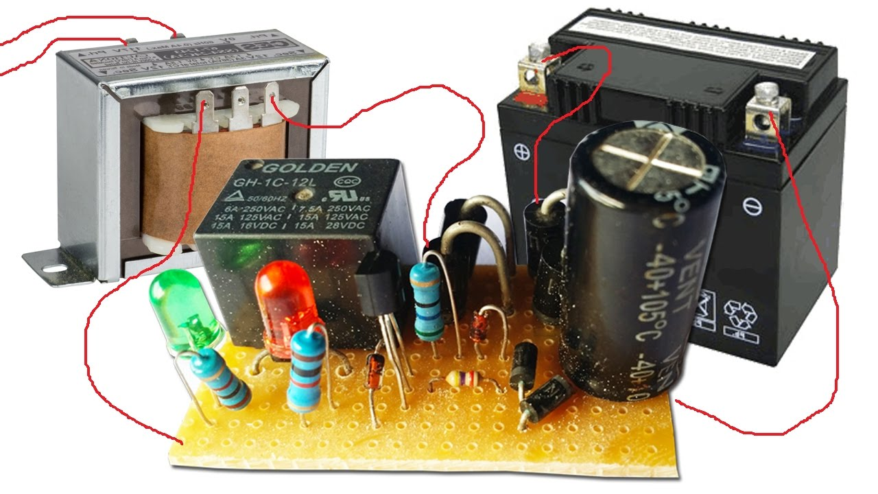 simple automatic charger circuit by using relay life hack kh [ 1280 x 720 Pixel ]