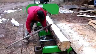 Harbor Freight sawmill first run with 420cc motor