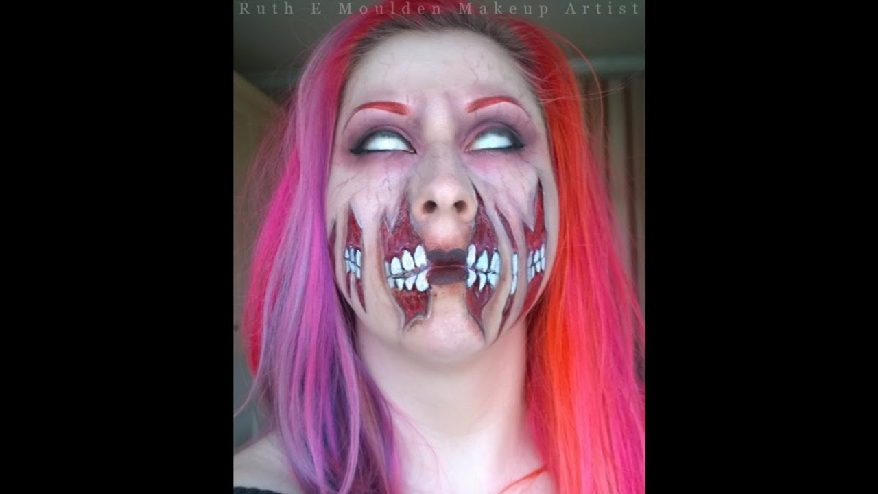 quick halloween makeup torn mouth face paint youtube - Make Your Own Halloween Makeup