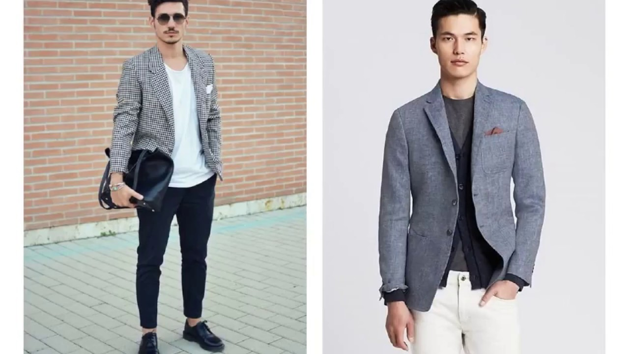 Suit Jacket with T Shirt and Jeans