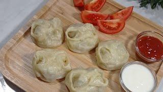 Манты. Настоящий , Узбекский манты.Сочный и сытный.Вот как нужно готовить.