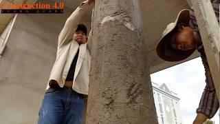 Thợ xây quê em tô trụ-Column render by high skill construction worker Construction 4.0
