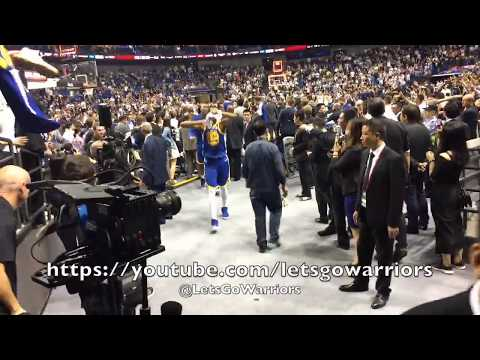 Steph Curry meets Dikembe Mutombo + Warriors postgame tunnel walk from Shanghai vs T'Wolves, 142-110