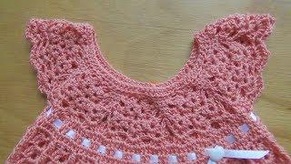 Детское Платье с Круглой Кокеткой Крючком - 2018 / Baby Dress with Round Crochet Hook