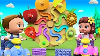 Learning Numbers for Children with Little Babies Fun Play Color Balls Fruits Slider Hammer ToySet 3D