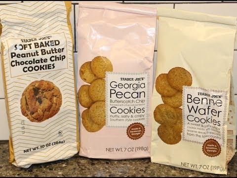 Trader Joe's Cookies: Peanut Butter Chocolate Chip, Georgia Pecan Butterscotch Chip, Benne Wafer