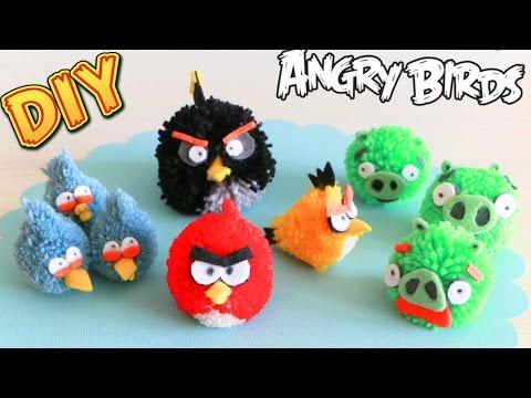 Как сделать ЭНГРИ БЕРДЗ из помпонов / DIY: Angry Birds Pom-pom / NataliDoma