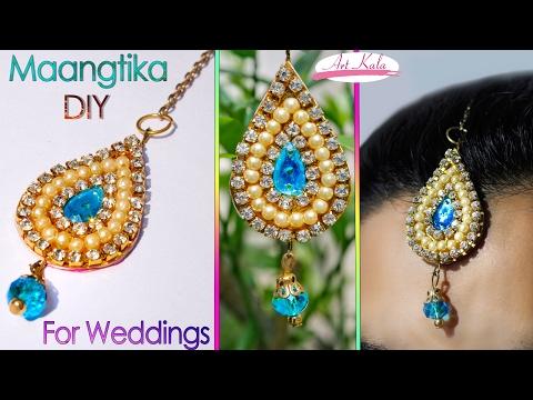 How to make maang tikka at home   wedding jewelry  easy   DIY   Artkala 112