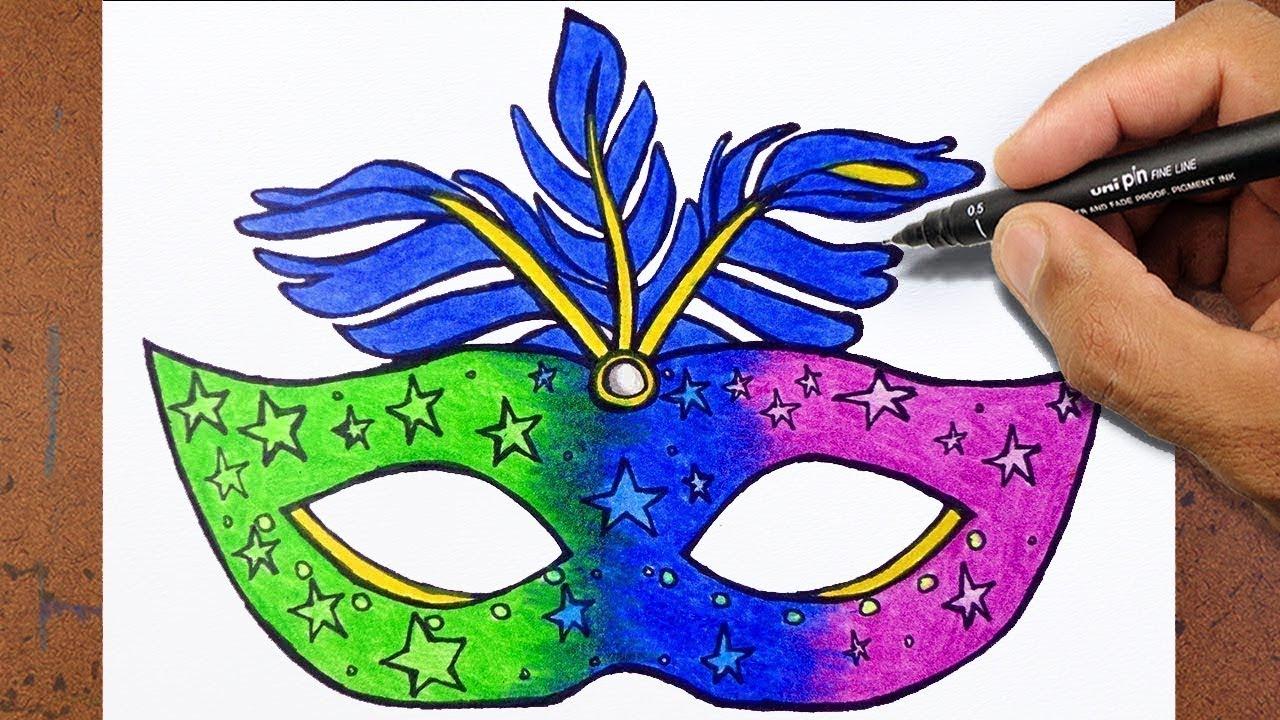 Como Desenhar e Pintar uma Mascara de CARNAVAL - YouTube