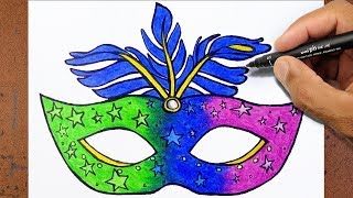 Como Desenhar e Pintar uma Mascara de CARNAVAL